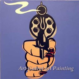 $enCountryForm.capitalKeyWord Canada - Free Shipping wholesale Hand painted Modern Pop art oil painting on canvas abstract wall art for home Decor A Gun