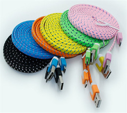 Wholesale 500pcs USB Micro Cable Nylon Braided Charging Cord Fabric Charger Wire in ft for Android Smart Cell Phones Tablet