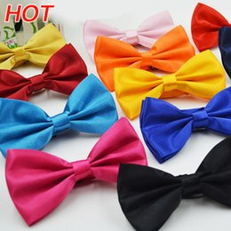 Men Silk Bowties NZ - 2017 Hot Sales Men Women Solid Colors Plain Silk Polyester Bowties Bow Tie Bright color buckle tie wholesale Multicolor Free Shipping