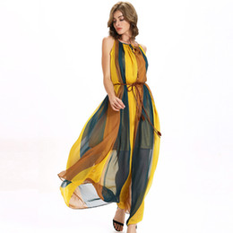 Dresses Apparel Canada - Hot Summer Lady's Dresses with Color Clock Panelled Halter Chiffon Oversized Long Dress Dresses Clothing Apparel Women's Clothing