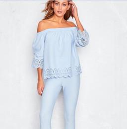 Cotton T Shirts Lace Canada - 2017 New Design Light Sky Blue Off Shoulder Women T Shirts Free Shipping !! Short Lace Long Sleeve Women T Shirts Lady Women Blouse