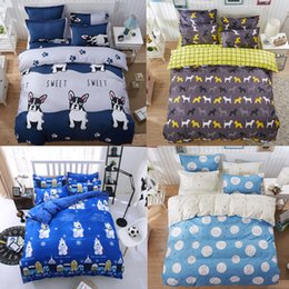 Discount california king beds - Wholesale- Cartoon Animal Bull Dog Bear Panda Rabbit 4Pc Twin Full Queen King Size Bedding Quilt Duvet Cover Set&Sheet S