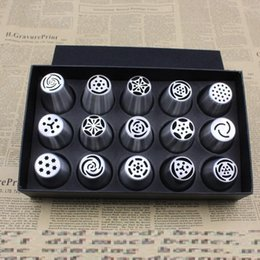 Tulip Cupcakes NZ - 15Pcs Lot Russian Tulip Nozzles Stainless Steel Icing Piping Nozzles Cakes Cupcakes Rose Pastry DIY Cake Tools Decorating Tips