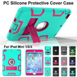 Discount ipad smart case pc NEW Kickstand Hybrid 3 in 1 Robot Protection Case PC + Silicone Rubber Armor Stand Cover Case for ipad mini 1 mini 2 3