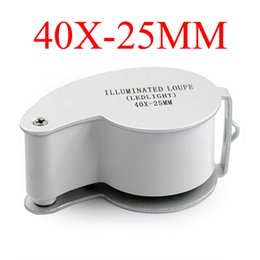 microscope magnifications Australia - illuminated Loupe MG21011 Jewelry Loupes Magnifier 2 LED Light 40x 25mm Magnification Mini Magnifying Glass Jeweller Microscope + Retail Box