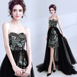 Barato Hi Lo Desmontável Trem-Black Sexy Lace 2017 Vestidos de noite Sweetheart A-line Detachable Train Tulle Formal Party Prom Bridesmaid Gowns