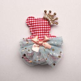 $enCountryForm.capitalKeyWord Canada - Fashion Princess Girls Character Animal Bears Shape Hair Clips Glitter Felt Crown Hair Bows Pink Gauze Ribbon Bowknot Hairpins 20pcs