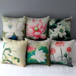Lotus piLLows online shopping - 45cm Green Pink beauty the lotus Cotton Linen Fabric Throw Pillow inch Handmade New Home Office Bedroom Decoration Sofa Back Cushion