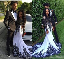 $enCountryForm.capitalKeyWord Canada - White And Black Mermaid Formal Evening Dresses For Black Girl Long Sleeves Lace Appliques 2016 Cheap Arabic Vestidos Ne Festa Prom Gowns