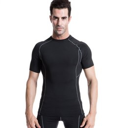 Barato Manga Curta Sob Camisa De Base-2016 Quick Dry Men Base de compressão Camada Respirável Quick Dry Camisas de manga curta Under Skin Gear Bodybuilding Training Fitness