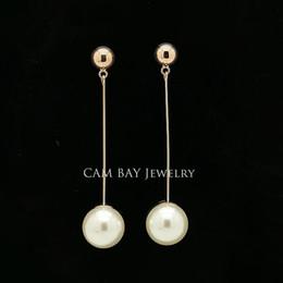 $enCountryForm.capitalKeyWord Australia - Delicate Slim Long Earrings One Big Round Pearl Dropping Beautiful Drop Earrings Women Ears