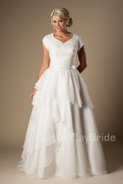 Inexpensive ivory wedding dresses simple australia new featured modern short sleeves modest wedding dresses 2016 cap sleeves v neck buttons tiered organza bridal gowns a line inexpensive wedding gowns junglespirit Gallery