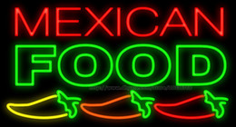 "mexican glasses Canada - Mexican Food Peppers Neon Sign Customized Handmade Restaurant Advertisement Dishes Eating Display Real Glass Tube LED Neon Signs 37""X20"""