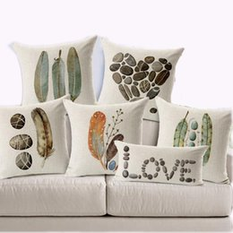 Wholesale- Pillow Case 45X45cm Feather Stone Custom Pillow Covers Candy  Color Throw Pillows Cases Flower Decorative Pillows Covers Gift