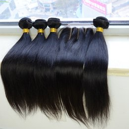 three way part closure weave 2019 - Peruvian Straight Human Virgin Hair Weaves Extensions 4 Bundles with Lace Top Closure 3 Three Way Part 9A Quality Double