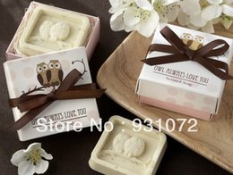 Gift Shaped Soap Canada - Free FedEx shipping 120pcs lot wedding favors owl pear leaf model soap of Gift box packaging three shape sope mixed 160406#