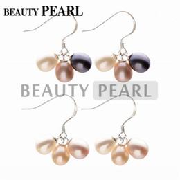 Wielokolorowe perły słodkowodne wody kropla 925 Sterling Silver Dangle Kolczyki Kobiety Pearl Jewelry Wedding Party 20 par