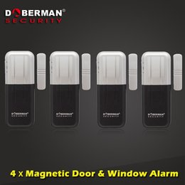 magnetic window alarms wholesale 2018 - Wholesale- 4pcs Doberman Security Magnetic Door Window Alarm Home Protection Security Alarm Sensor Detector Alarm for Ho
