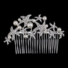 pearl head comb Canada - Gorgeous party head pieces wedding hair comb seafish rhinestone pearl enviromental friendly alloy hair piece Korean styles