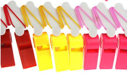 $enCountryForm.capitalKeyWord Australia - Christmas Party Wedding Promotion Colorful Plastic Sport Whistle with Lanyard 4 Colors Mixed Kids Candy Whistle 4*1.8cm