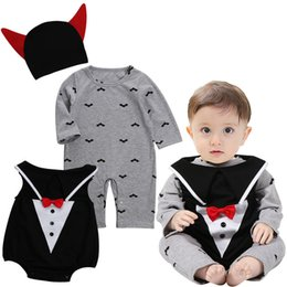 $enCountryForm.capitalKeyWord Canada - baby halloween vampire cosplay costume for infant boys girls toddlers cartoon romper with hats high quality halloween three-piece stagg wear