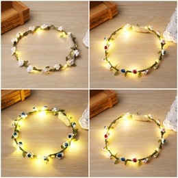 $enCountryForm.capitalKeyWord Canada - 5 Style Christmas Handmade Boho Flower Headband Hair Wreath Floral Garland LED Light with Ribbon Festival Wedding Party Jewelry D304S