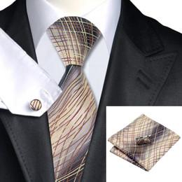 Brown Tie Hanky Sets NZ - Men's Wedding Tie Classic Formal Silk Necktie Set Cufflinks Hanky Jacquard Woven Stylish Clearance Sale N-1184