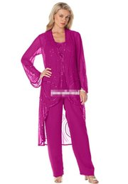 Chinese  2016 Fashion Fuchsia Chiffon Mother Of Bride Pants Suits Dresses Long Sleeves Sequined Three Pieces Women Formal Evening Event Gowns Cheap manufacturers