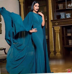 satin caftans 2019 - 2016 Arabic Women Evening Dress Satin Ruffle Dubai Caftan Maxi Mermaid Party Gowns With Cape Elegant Vestidos de Festa d