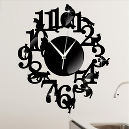 Decorative Wall Clock Creative Living Room Wall Clock Black Cat Cartoon  Wall Clock On The Shelf Part 88