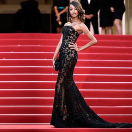 Voir Paillettes Pas Cher-Livraison gratuite Evening Strapless See Through Lace Applique Formal Sequin Evening Gown Cannes Film Festival Red Carpet Robes de bal 2016