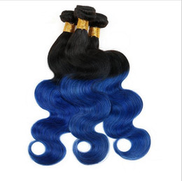 Blue Ombre Hair Bundles Canada - Peruvian Blue Ombre Human Hair Weave Bundles 3Pcs 2Tone #1B Blue Ombre Hair Extensions Body Wave Dark Roots Ombre Peruvian Double Wefts