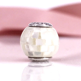 Discount mother pearl mosaics - Sterling Silver Beads GENEROSIT ESSENCE COLLECTION Charm With White Mother-of-Pearl Mosaic Fit For Jewelry Bracelets 796