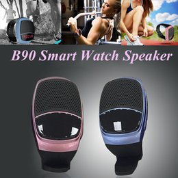Discount watch player - B90 Mini Bluetooth Speaker Smart Watch Speaker Wireless Subwoofers Speaker With Screen Support TF FM USB VS DZ09 U8 BT80