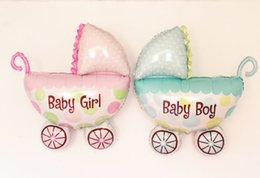 Wholesale Baby Carriage Boy Girl Balloon Baby Stroller Foil Balloons Baby Shower Inflatable Toys Children Birthday Party Decorations Big Size