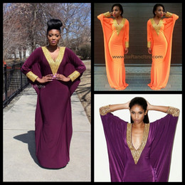 Yellow Sky Long Jersey Canada - 2016 African Fashion Women Evening Dresses Sexy V Neck Gold Beaded Long Sleeve Mermaid Jersey Purple Evening Gowns