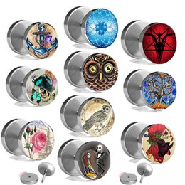 $enCountryForm.capitalKeyWord NZ - Mix 10 Logo Fashion Sliver Stainless Steel Fake Cheater Ear Plugs Gauge Body Jewelry Pierceing 8mm Wholesale