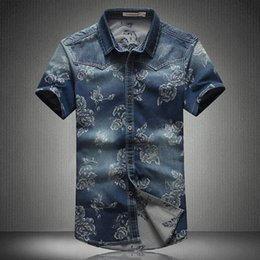 $enCountryForm.capitalKeyWord Canada - Wholesale-2016 New Fashion Summer Mens Floral Denim Shirt Plus Size M-5XL100% Cotton Casual Jeans Short For Men Short Sleeve Flower Shirt