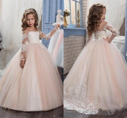 $enCountryForm.capitalKeyWord Canada - Illusion Flower Girls Dresses 2017 Long Sleeve Cute Princess Dress Embroidery Tulle Communion Dresses for Kids Real Images
