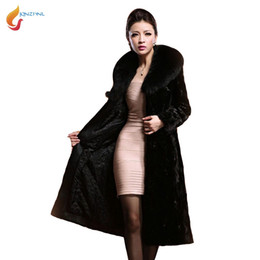 Barato Vendas De Vison-Venda quente Plus Size S-7XL Mulheres Big Fur Collar Casual Espessura Faux Fur Jacket 2017 New Winter Coats Medium Long Mink Fur Coats C52