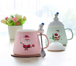 Porcelain coffee cuPs sPoons online shopping - Hot Breakfast milk cup lovable pottery and porcelain Christmas coffee cup Cover with spoon