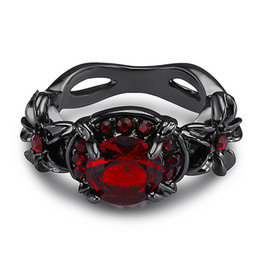 Gemstone Bands UK - Victoria Wieck Retro Cool Jewelry 10kt Black Gold Filled Ruby Simulated Diamond Gemstones Wedding Engagement Women Band Round Ring Sz5-11