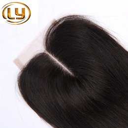 Discount top quality virgin human hair - Top Quality Brazilian Virgin Human Straight Hair 4x4 Lace Closure 3 Way Part Bleached Knots Free Middle Three Part Free