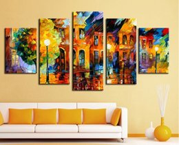Beautiful Oil Paintings Pictures Scenery Canada - 5 panel wall decor modern art Beautiful city street scenery palette knife hand Printing Knife Oil Painting on Canvas F 1026