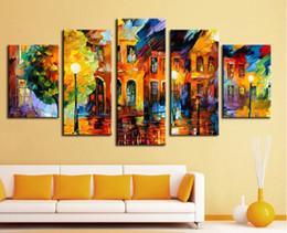 $enCountryForm.capitalKeyWord Canada - 5 panel wall decor modern art Beautiful city street scenery palette knife hand Printing Knife Oil Painting on Canvas F 1026