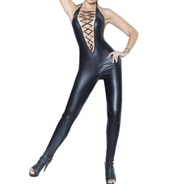 Costumes Sexy À Corps Entier Pas Cher-Noir Plus Size Sexy Body Léotard Latex en cuir Justaucorps Body Wetlook Body complet Pantyhose Vêtements DS Costume Nightclub
