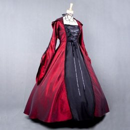 Barato Vestidos De Cosplay Victorianos-New Arrival Red Halloween Cosplay Long Sleeves Cosplay Costumes Gothic Victorian Witch Dress Vestido de baile Queen Lolita Dress