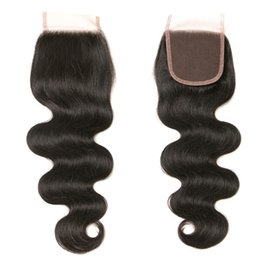 Discount indian remy top closure - Brazilian Body Wave Hair 4*4 Swiss Lace Closure With baby Hair Lace Top Closure Remy Human Hair Middle Three Free Part