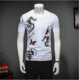 Mens Shirts Styles V Necks Canada - 2017 Summer Fashion Print Men's T Shirt V Neck Short Sleeve T shirt Men Chinese Style Casual Slim Mens Cotton T Shirts 4XL 5XL YH-132