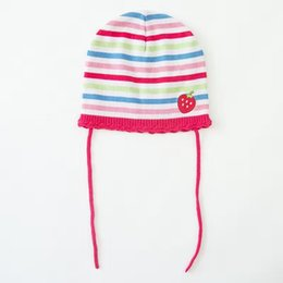Wholesale Strawberry Embroidery Toddler Hat Stripe Baby Knit Cap Crochet  Baby Beanies Kids Fall Winter Cap Handmade Windproof Earmuff Cap e3c8a049ba96